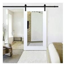 White Primed Mirror Sliding Barn Door with Hardware Kit, Carbon Steel Hardware,
