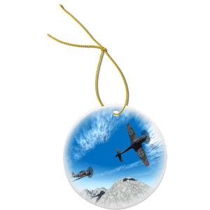 World War Ii Fighter Jet Design Round Porcelain Christmas