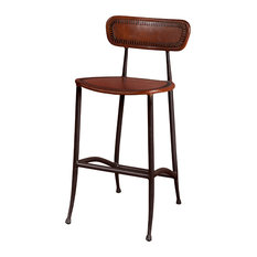 Rocket Counter Stool, Brown and Burnished Iron