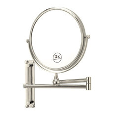 Round Wall Mounted 3x Magnification Mirror, Satin Nickel