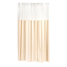 """Shower Stall-Sized """"Window"""" Shower Curtain in Ivory"""