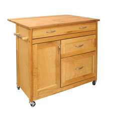 The Mid-Sized Double Leaf Drawer Island in Natural Finish