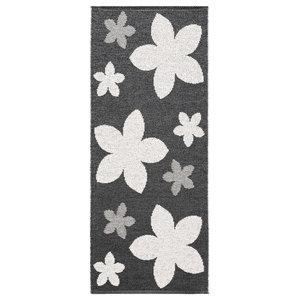 Flower Woven Vinyl Floor Cloth, Black, 70x200 cm