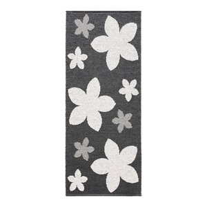 Flower Woven Vinyl Floor Cloth, Black, 150x250 cm