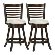 CorLiving Woodgrove Cappuccino Wood Bar Stools, Set of 2, 38""