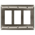 Amerock - Rocker 3 Wall Plate, Satin Nickel - The Amerock BP36506G10 Candler 3 Rocker Wall Plate is finished in Satin Nickel.  The Candler wall plate collection features strong lines and soft curves add a touch of femininity to provide enduring class and timeless character.   The classic Satin Nickel finish provides a sleek, lightly brushed, warm grey metallic look.  Amerock markets decorative hardware solutions that inspire, coordinate and help express personal style. For the kitchen, bathroom and the rest of the home, with a variety of finishes and designs for all decorating tastes, Amerock is the ultimate, time-tested source for hardware needs. Amerock markets products in four categories: decorative hardware, decorative hooks, bath accessories and functional hardware.