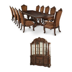 Michael Amini   Windsor Court Rectangular Dining Room Set, Vintage Style  Fruitwood, 10