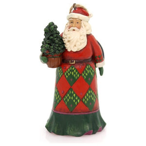 Ino Schaller Green Coat Santa With Beaded Trim Paper Mache