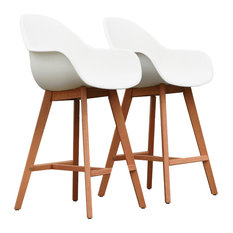 Amazonia Charlotte Patio Barstool, Set of 2, Dark Eucalyptus