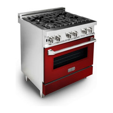 "ZLINE 30"" Professional Dual Fuel Range with Red Gloss Door (RA-RG-30)"