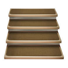"Set of 12 Attachable Carpet Stair Treads Bronze Gold, 8""x30"""