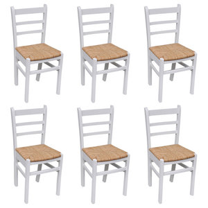 VidaXL Natural Varnish Wooden Dining Chairs, Set of 6, White