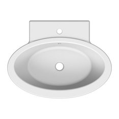 Oval Shaped White Ceramic Wall Mounted or Vessel Bathroom Sink, One Hole