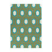 Kaleen Hand Tufted Spaces Wool Rug, Teal, 5'x7'