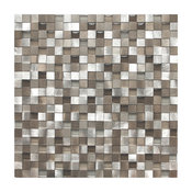 "11.8""x11.8"" 3D Silver and Pewter Aluminum Square Mosaic Tile, Single Sheet"