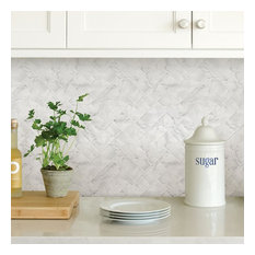 Wallpops Herringbone Carrara Marble Peel and Stick Backsplash Tile, Set of 4