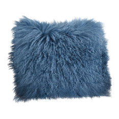 "Mongolian Lamb Fur Poly Filled Throw Pillow, Blue Gray, 16""x16"""