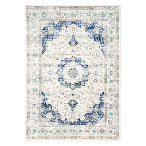 "Traditional Medallion Verona Rug, Blue, 6'7""x9'"