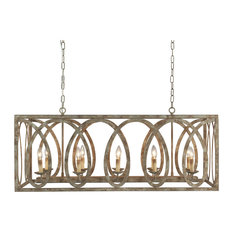 Terracotta Designs  Palma Linear Chandelier with washed white Finish