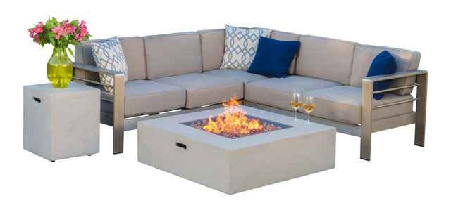 Crested Bay Outdoor Aluminum Framed Sofa Set With Fire Table
