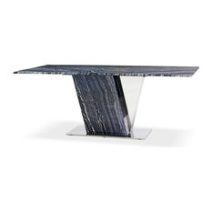 Black and White Malbec Marble Dining Table With Polished Stainless Steel Base