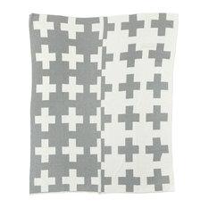 Reversible Swiss Cross Throw, Grey