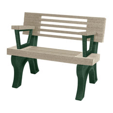 Bench, Cambridge w/Back, with Armrests, 4', Green Legs, Sand