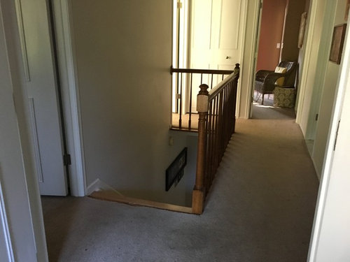 Does It Look Odd To Have Carpet Edges On All Four Bedroom Entrances Don T Worry I Will Be Changing The Railing Below Thanks So Much For Any Help