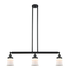 Small Canton 3-Light Island-Light, Matte Black, Matte White