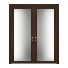 French Double Doors 64 x 80 Frosted Glass | Planum 2102 Chocolate Ash