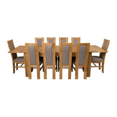 Richmond Oak Extending Dining Table With 10 Stanford Chairs, 200-280 cm