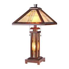 Chloe Lighting Earle Mission 3 Light Double Lit Wooden Table Lamp