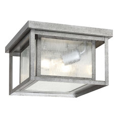Hunnington 2 Light Outdoor Ceiling Light in Weathered Pewter