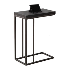 Accent Table, Cappuccino, Bronze Metal