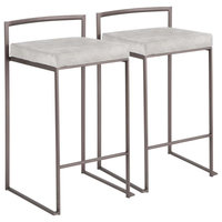 Fuji Stackable Counter Stool in Antique w/Grey Cowboy Fabric - Set of 2