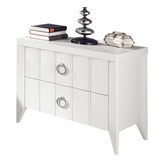 Lineas Taller - Vienna Ash Wood Nightstand, White Finish - Nightstands And Bedside Tables
