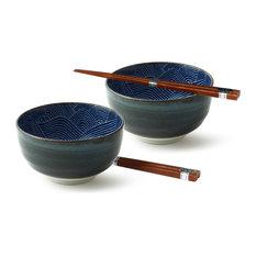 "Aranami Blue 5"" Bowl Set With Chopsticks"
