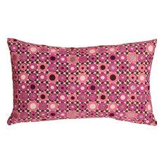 Pillow Decor - Houndstooth Spheres 12 x 20 Pink Throw Pillow