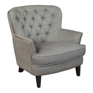 GDF Studio Alfred Royal Vintage Design Upholstered Arm Chair, Gray