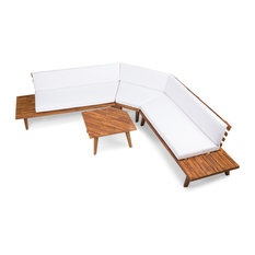 4-Piece Hillside Outdoor V Shaped Sectional Sofa Set, Sandblast Finish, White