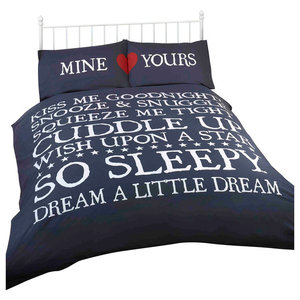 Mine And Yours Duvet Cover Set, Navy, Double