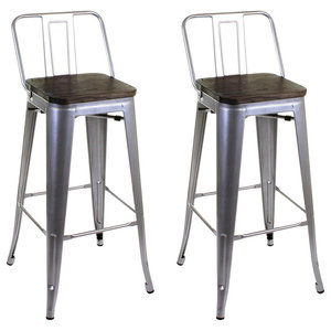 Industrial Stylish Bar Stools, Metal Frame, Silver, Set of 2