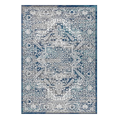 "Modern Persian Vintage Medallion Rug, Navy, Light Gray, 5'3""x7'6"""