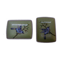 Modern Asian Hand Painted Porcelain Display Dishes