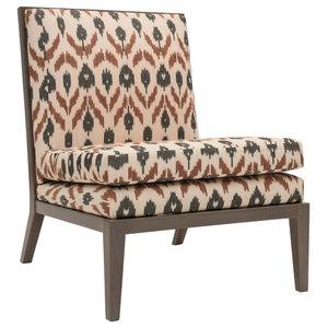 Madeleine Parisian Chair, Dark Grey and Red Ikat Print