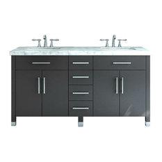"59"" Rana Double Sink Vanity With Carrera Marble Top"