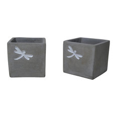 Dragonfly Concrete Square Pot Planter, Set of 2