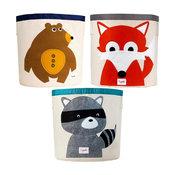 3 Sprouts Storage Bin, Fox, Racoon, Bear, 3-Pack