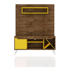 Baxter 54-inch Freestanding Entertainment Center Rustic Brown And Yellow