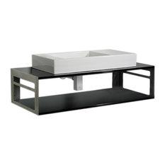 Aeri Counter Top And Shelf Unit, Laminated Black Glass